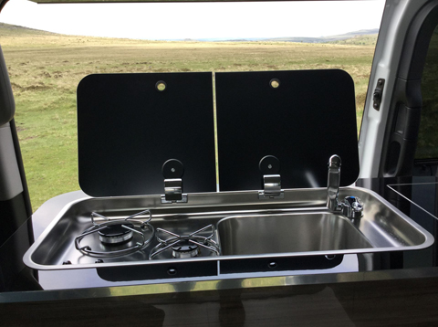 Konigsmann Camper Van Double gas hob and sink with smoked glass lids